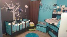 Satinelle Turquoise pochoir Pluie d'étoiles Meubles Peints Style Funky, Toddler Bed, Turquoise, Blog, Furniture, Home Decor, Rain, Stencil, Child Bed