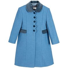 aec3725d Girls smart blue coat by Ancar, designed in a traditional style. Made in a