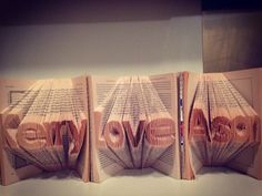 Handmade folded 3D book art design for Kerry & Ason.  Good idea for your special one for gift.