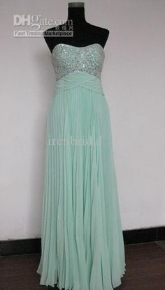 Wholesale Simple Aqua Sweetheart Sequin chiffon Ruched Long Evening Dress Bridesmaid wedding Prom Gown, Free shipping, $69.83-89.94/Piece | DHgate