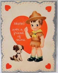 J174 40s Dog is Boy Scout's Best Friend! Vintage Valentine Card-Greeting