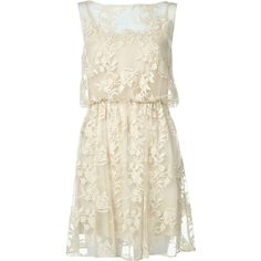 Alice + Olivia Darcy Lace Layover Dress ($238) ❤ liked on Polyvore featuring dresses, vestidos, short dresses, robes, sheer lace dress, short cocktail dresses, lace mini dress, evening cocktail dresses and lace dress