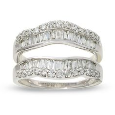 1 CT. T.W. Round and Baguette Diamond Wrap Guard in 14K White Gold - Zales