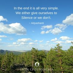 In the end it's very simple. Either we give ourselves to Silence or we don't. ~ Adyashanti
