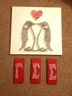 Gamma Sigma Sigma penguin string art, to be hung up later. Gamma Sigma Sigma, Arte Linear, Nail String Art, Penguin Art, Diy Crafts For Adults, Thread Art, Cute Crafts, Little Gifts, Diy Art