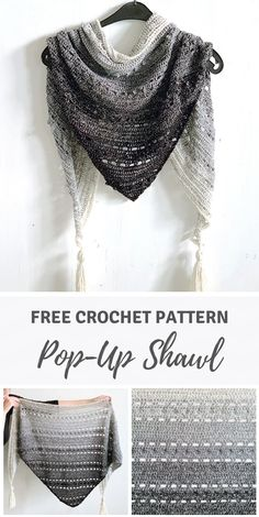 Triangle scarf for beginners: Pop-Up Shawl by Wilmade (free pattern) - Crochet Shawl Pattern - Crochet Pattern Free, Crochet Shawl Free, Crochet Gratis, Crochet Shawls And Wraps, Crochet Scarves, Crochet Clothes, Crochet Hooks, Crochet Patterns, Beginner Crochet Scarf