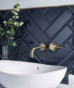 Dark herringbone bathroom tile with brass fittings and white sink. Modern bathroom with beautiful contrasts in colors and textures. - home decorations - Dark herringbone bathroom tile with brass fittings and white sink. Modern bathroom with beautiful c - Diy Bathroom, Double Sink Bathroom, Bathroom Inspo, Bathroom Inspiration, Double Sinks, Bathroom Ideas, Bathroom Black, Bathroom Organization, Shower Bathroom