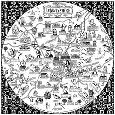 Pictorial Map of Ledburyshire (Ledbury and the countryside within a 10 mile radius of the town). Created for Tinsmiths by artist Paul Bommer