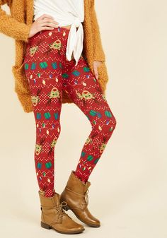 Swell on a Holiday Leggings in Deer | Mod Retro Vintage Pants | ModCloth.com
