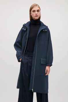 COS image 2 of Long scuba coat with hood in Navy