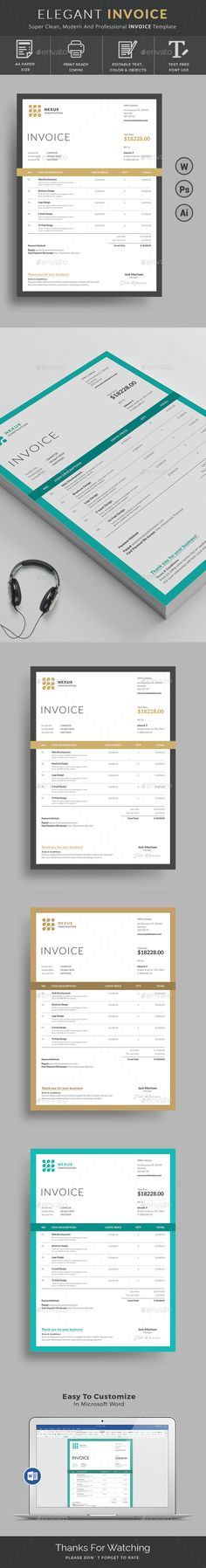 Template Use this Clean Invoice for personal, or company billing purpose. This Simple Invoice will help you to create your invoice very quick and easy. Elegant Invoice Design will convey your brand identity as well as Professional Invoice look. Invoice Design Template, Stationery Templates, Stationery Paper, Stationery Design, Print Templates, Brochure Design, Brochure Template, Business Templates, Change Logo