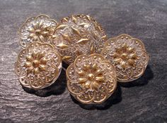 VINTAGE Clear Glass Buttons Five 5 Assorted Fabric by punksrus, $8.50