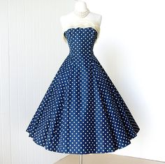 vintage 1950's dress ...classic WILL STEINMAN ORIGINAL blue & white polkadot full skirt pin-up party dress with attached crinoline