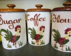 Hand Painted California Pottery 3 Piece Rooster Canister Set