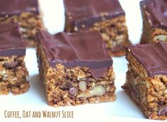 Everyone will go nuts for this mocha inspired slice packed with oats, nuts and choc chips. It's delicious with a dark chocolate topping or without! Tray Bake Recipes, Baking Recipes, Cake Recipes, Snack Recipes, Dessert Recipes, Baking Ideas, Thermomix Desserts, Biscuit Cake, Biscuit Recipe