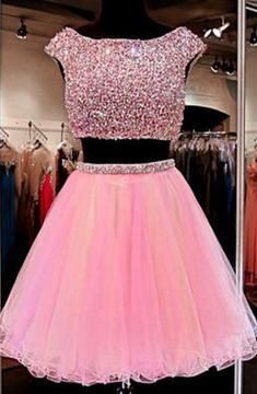 Cute Jewel Two Pieces Beading Pink Homecoming Dress
