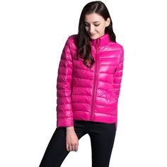 Demetory Women's Autumn Winter Stand Collar Ultralight Down Jacket ($40) ❤ liked on Polyvore featuring outerwear, down filled jacket and down jacket