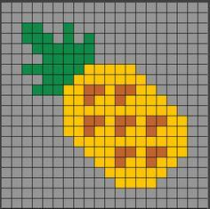 Patrones Hama Beads de comida. ¡ÑAM ÑAM! Aquí tienes una plantilla muy sencilla de hacer, ¡una piña! Si quieres saber como se hace, ya sea en Hama Beads o Pixel Hobby, entra en el enlace para ir a la página web. Perler Beads, Perler Bead Art, Cross Stitch Art, Cross Stitching, Cross Stitch Patterns, Pixel Pattern, Pattern Art, Pixel Art, Rainbow Loom Charms