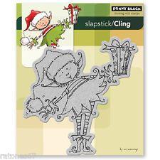 New Penny Black LITTLE ELF PRESENT Slapstick Cling Rubber Stamp Christmas Gift
