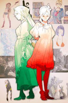 Rosso & Verde by Pomodorosa #Pixiv Illustration