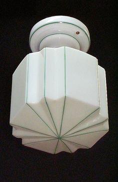 *Green stripe ceiling fixture   vintagelights.com by VintageLights.com, via Flickr