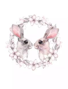 Kawaii Animal Rabbit Cat Nursery Canvas Poster Canvas Prints Wall Art Painting Wall Pictures for Children Living Room Home Decor Wall Art Prints, Poster Prints, Canvas Prints, Poster Poster, Posters, Watercolor Design, Floral Watercolor, Canvas Poster, Canvas Art