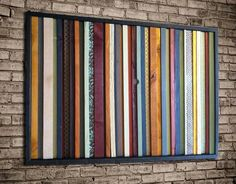 Wood Wall Art - India - Wood Stripes in Orange, Yellow, Blues, Reds Wall art is made with a mix of pine, alder, and reclaimed wood, acrylic paint and wood stain