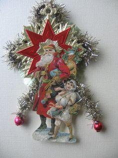 Vintage Look Victorian Christmas Ormament- German Scrap Santa, Dresdens, Tinsel, Green Spun Glass, Vintage Glass Beads. $20.00, via Etsy.