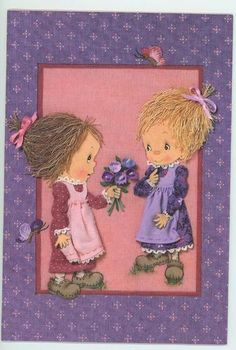 Vintage Betsy Clark Hallmark Valentines Day 1983 Unused Purple Pink Colors Card | eBay