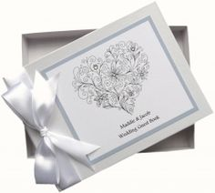 'Heavenly heart' - Heart scroll wedding guest book with swarovski crystals