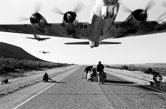 """Remember that """"Don't Mess With Texas"""" commercial with the B-17 in it? Here's an awesome production still. THAT'S LOW."""