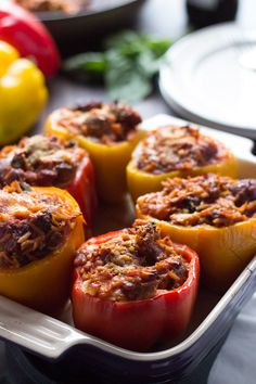Italian Style Stuffed Peppers is flavorful twist in a classic dish! So easy to prepare and incredibly flavorful! lemonsforlulu.com