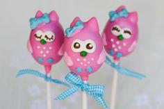 Pink Owl Cake PopsFondant Owl Cake Topper Owl Cake birthday party girl boys kids kid chil children Owls Owl hibou gateau