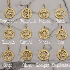 Aquarius Gold Multiple Colors Available Pink Box Ms Zodiac Tag Necklace