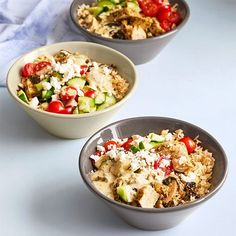 This is a great prep-ahead lunch or dinner! Using a pressure cooker to make these rice bowls means that your meal comes together with only a little hands-on time, but still delivers fantastic Mediterranean flavor. Using A Pressure Cooker, Pressure Cooker Recipes, Pressure Cooking, New Recipes, Healthy Recipes, Cream Recipes, Salad Recipes, Chicken Rice Bowls, Pampered Chef Recipes