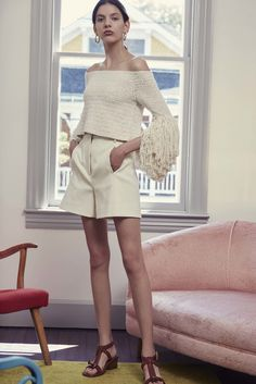 chic vintage inspired beach wear knit couture inspiration Rosetta Getty Resort 2017 Fashion Show
