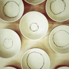 """Just Lines"" Monoprints on small white bowls, still leatherhard. #pottery #ceramic #monoprints #slip #stoneware #steinzeug #bowls #töpferei #schalen #handmade #hamburg"