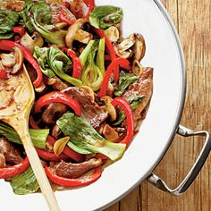 Garlic-Pork Stir-Fry | MyRecipes.com Garlic-Pork Stir-Fry is a one-wok wonder that will satisfy the appetites of your hungry crew and meet your desire for a simple, fast dinner.