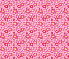 Happy Pink Floral fabric by elanmom on Spoonflower - custom fabric