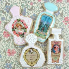 Vintage Perfume Bottle Cookies How-To, Create Vintage Inspired Perfume Bottle Cookies!    http://www.fancyflours.com/product/vintage-perfume-bottle-cookies-how-to/Spring_and_Easter_Themed_Recipes