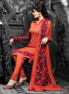 Cbazaar Beautiful Chiffon Jacquard Churidar Suit