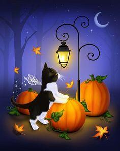 Items similar to Halloween Cat Art // Fall Pumpkin Patch // Autumn Twilight - on Etsy Retro Halloween, Halloween Images, Halloween Boo, Halloween Themes, Halloween Crafts, Halloween Decorations, Cute Halloween Pictures, Fall Wallpaper, Halloween Wallpaper