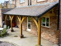 green oak lean to porch
