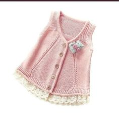 2017 Spring Fall Little Girls Cotton Vest Woollen Sweater Cardigan Baby Infant Sleeveless Knitwear Children Knitted Sweater Knitting Blogs, Knitting For Kids, Baby Knitting Patterns, Baby Patterns, Baby Cardigan, Sweater Cardigan, Crochet Baby, Knit Crochet, Frederique