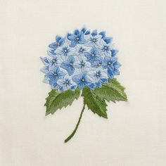 Hydrangea Blue<br>Hand Towel - Ivory Cotton