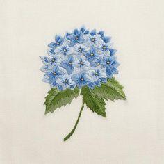 Hydrangea Blue<br>Hand Towel - Ivory Cotton