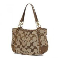 Coach Alexandra Chain Signature Tote Handbag Purse 20807 Khaki Mahogany