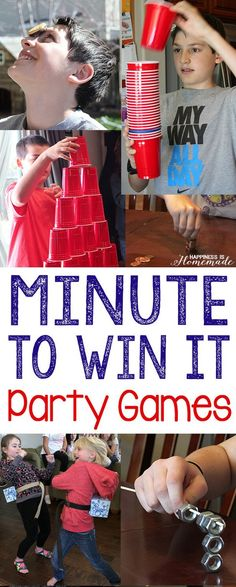 These Minute to Win It themed birthday party games are a TON of silly fun! 10 Minute to Win It games that are perfect for all ages (we had guests from ages 4-55 playing these games, and everyone had a blast!) - challenging enough for the older kids and adults, but still easy enough that the younger children could play as well! via @hiHomemadeBlog