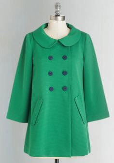 Frolic with Me Coat. Cozy up to your playful side by slipping into this grass-green swing coat from Bea  Dot. #green #modcloth