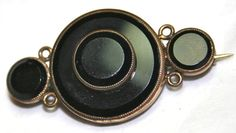Victorian goldfilled mourning brooch pin black glass by lbjool, $110.00
